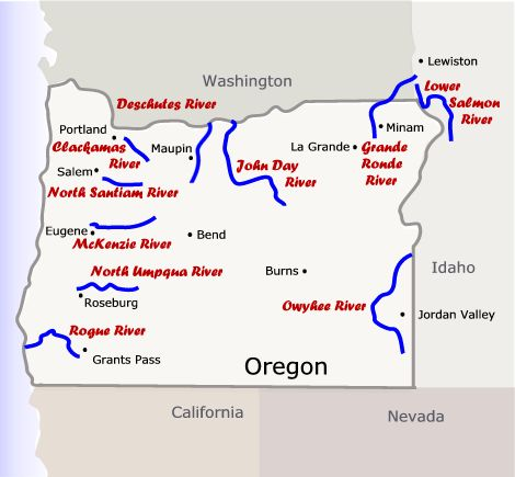 Map Gallery Oregon River Experiences - Rivers in us map
